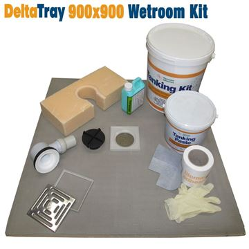 Picture of 900x900 DeltaTray Wetroom Kit