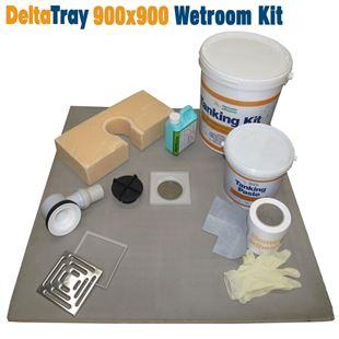 900x900 deltatray wetroom kit