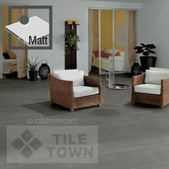lounge dark grey matt porcelain floor tile