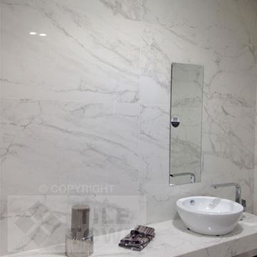 Makeney blanco Porcelain Wall tile with a Marble effect tile within a bathroom setting