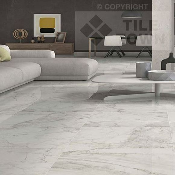 Makeney Blanco marble effect Porcelain Tile |