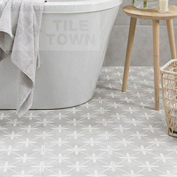Mercaston grey floor tile(bathroom setting)