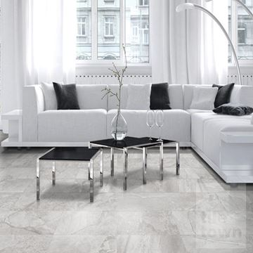 Canada grey slate effect matt Floor tile within a room setting