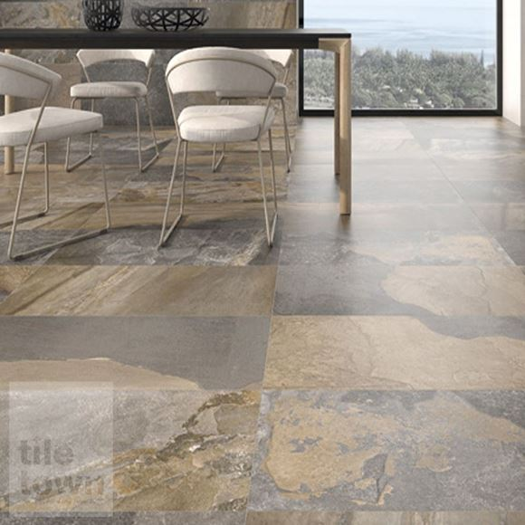 Canada mix slate effect matt Floor tile within a room setting