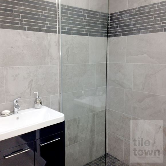 Canada grey stone effect matt Wall tile within a room setting