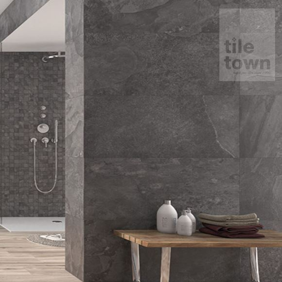 Canada nero slate effect matt wall tile within a room setting