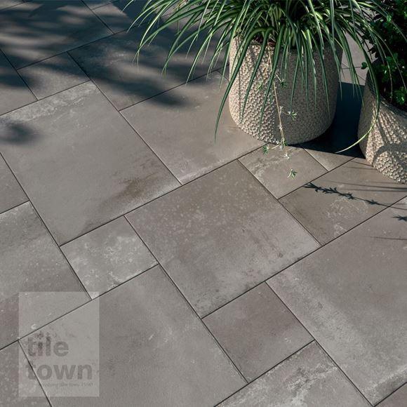 Corten Grey stone porcelain modular mix tile