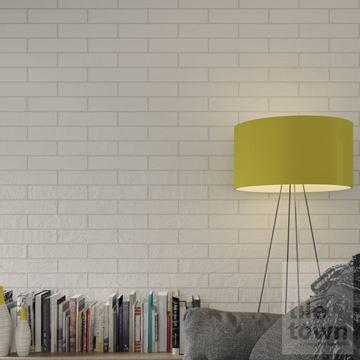 room set of butterwhite white brick