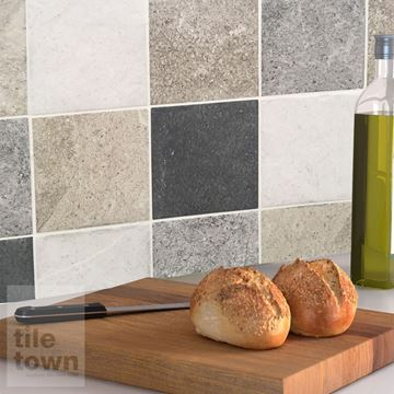 Alpstone mix wall tile within a kitchen setting.
