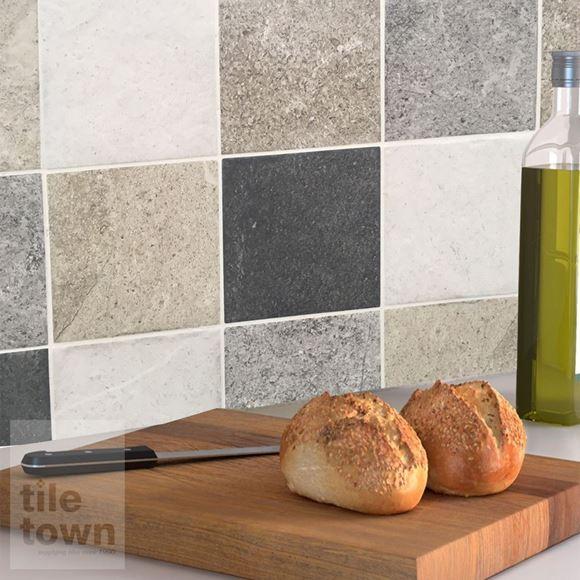 Alpstone mix wall tile within a kitchen setting.