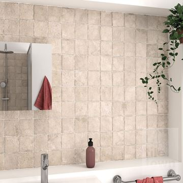 Alpstone sand wall tile bathroom setting.