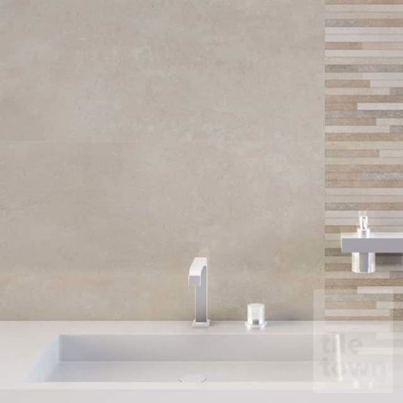 Lyric sand tile within a room set